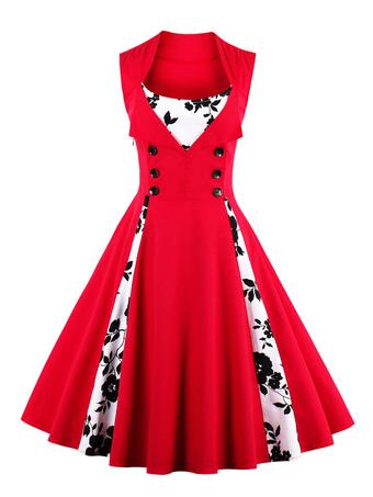 La place rouge Vintage robe robe sans manches Floral imprimé plissé Skater  avec boutons