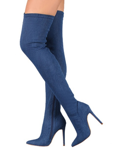 Élastique bleu bottes talon haut féminin sur le genou Poined Thigh High Boots