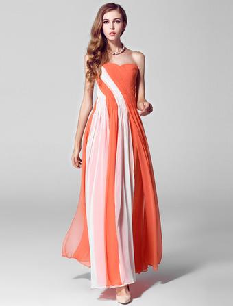 robe sublime prte porter a ligne en chiffon orange bustier - Milanoo Robe De Soiree Pour Mariage