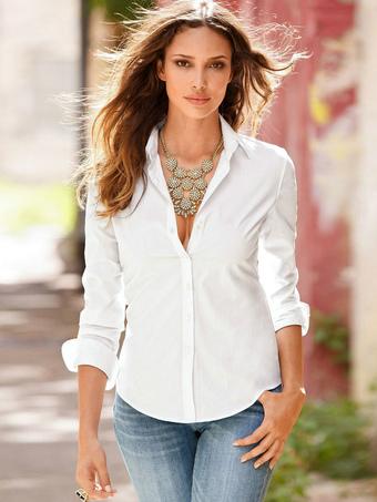 Manches longues Slim Blouse Fit coton rétro féminines