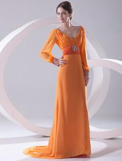 robe de soire fourreau orange en chiffon col v trane courte - Milanoo Robe De Soiree Pour Mariage