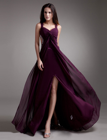 robe de bal en chiffon pourpre hors de lpaule tordu - Milanoo Robe De Soiree Pour Mariage
