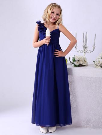 robe demoiselle honneur junior bleue royale avec fleur - Milanoo Robe De Soiree Pour Mariage