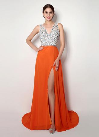 robe de bal a ligne chiffon orange col v fendu trane - Milanoo Robe De Soiree Pour Mariage