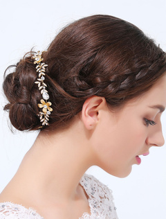 Gold Gorgeous Metal Round Brilliant Imitation Pearl Wedding Hair Jewelry