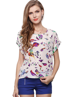 White Floral Print Chic Chiffon T-shirt for Women