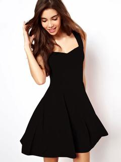Robe évasé noir Slim Fit robe courte
