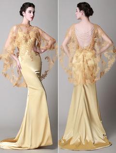 robe champagne nigmatique de soire sirne en dentelle avec dentelle encolure en coeur avec trane milanoo - Milanoo Robe De Soiree Pour Mariage