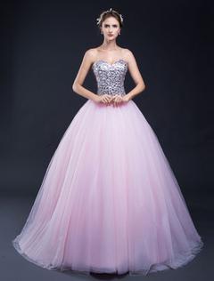 sequin pageant robe tulle dos nu bretelles sweetheart parole longueur robe de quinceanera - Milanoo Robe De Soiree Pour Mariage