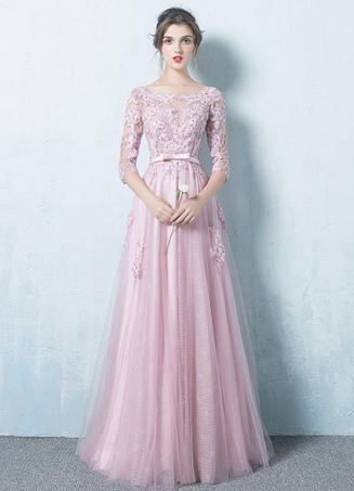 robe de soire rose tulle backless robe dentelle applique trois quarts manches sash a ligne occasion - Milanoo Robe De Soiree Pour Mariage