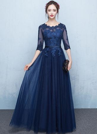 tulle robe de soire dentelle marine fonc appliques robe illusion half sleeve sash a ligne graduation - Milanoo Robe De Soiree Pour Mariage