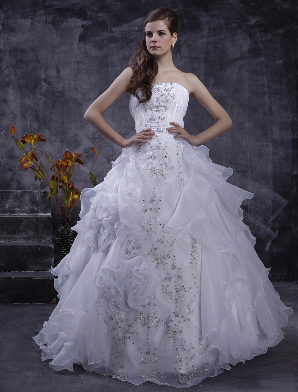 Trägerloses Brautkleid mit Pailletten - A-Linie - flanevo