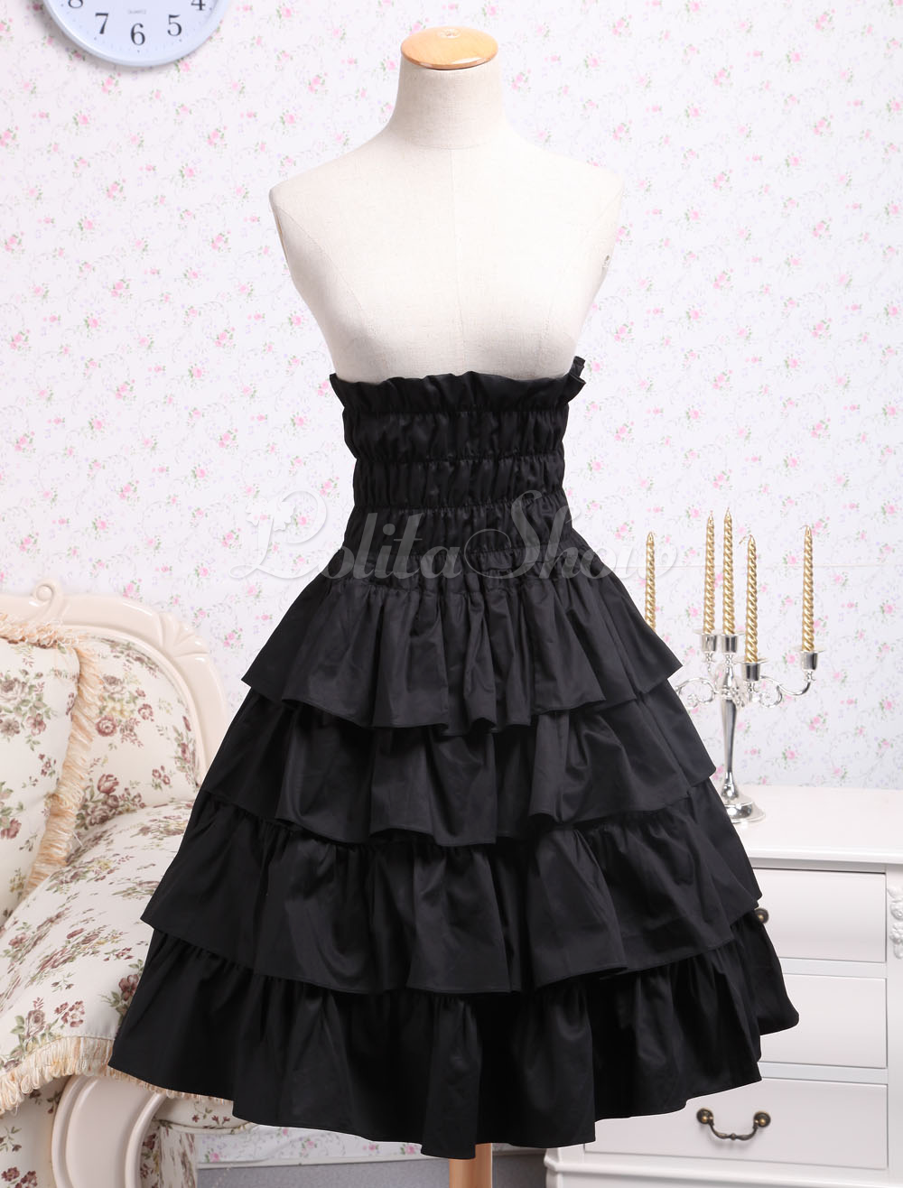 Lolitashow Classic Cotton Black Ruffle Lolita Skirt - Lolitashow.com