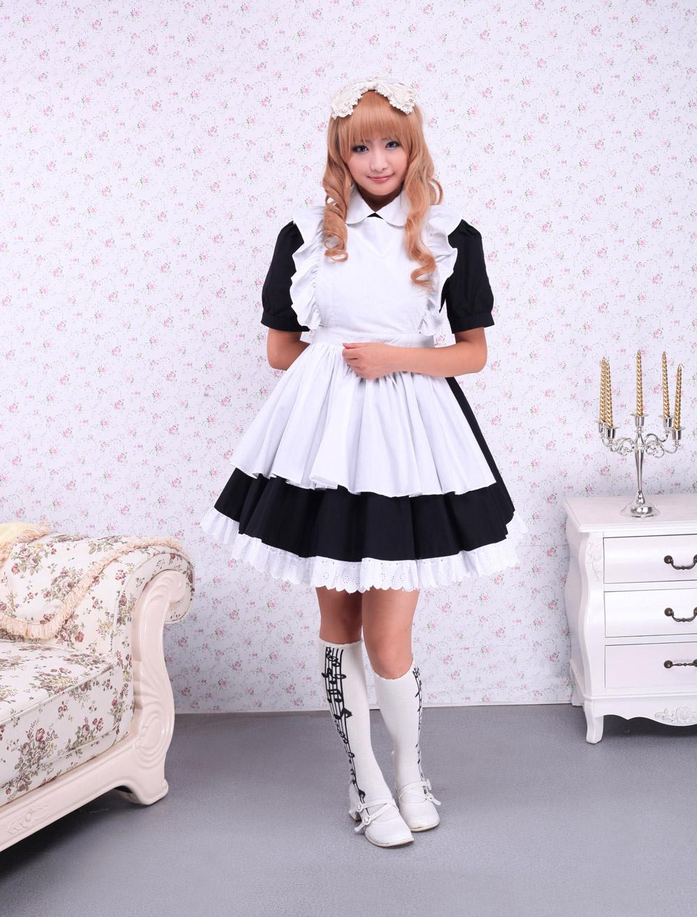 White apron cotton - Lolitashow Cotton Black Maid Lolita Op Dress White Apron Short Sleeves Lolitashow Com