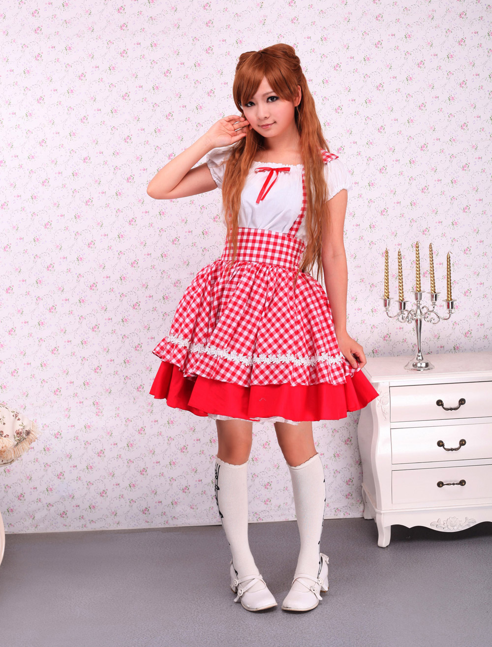 Lolitashow Cotton White Short Sleeves Blouse And Red Checked Cloth ...