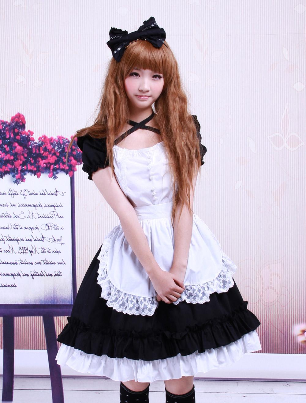 White apron lace trim - Lolitashow Sweet Black Cotton Maid Lolita One Piece White Apron Short Sleeves Lace Trim Lolitashow Com