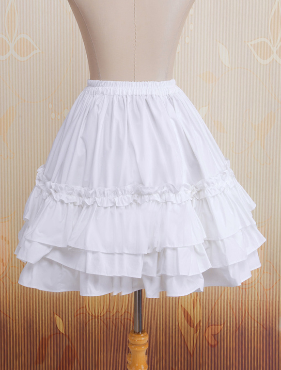Lolitashow Cotton White Multi-layer Lace Lolita Skirt - Lolitashow.com