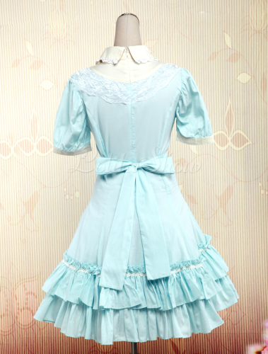 Lolitashow Light Blue Short Sleeves Cotton Sweet Lolita Dress ...