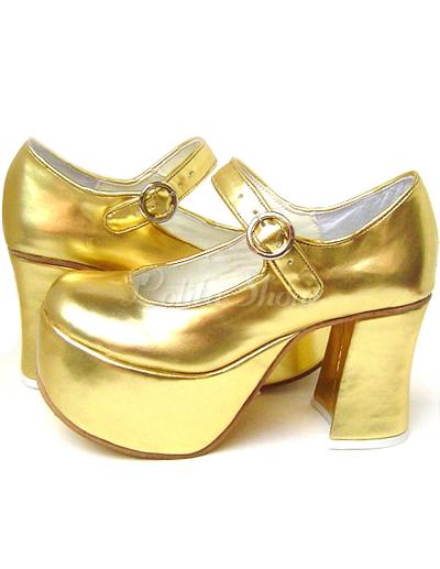 Lolitashow 3 1/2'' High Heel 2'' Platform Gold PU Lolita Shoes ...