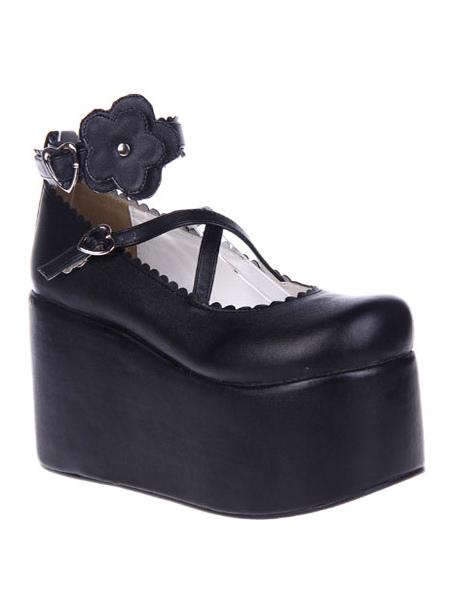 Black Lolita Shoes Platform PU Lolita Flatform Shoes - Lolitashow.com