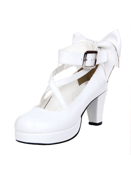 a4943585730 White Heels With Bow - Ha Heel