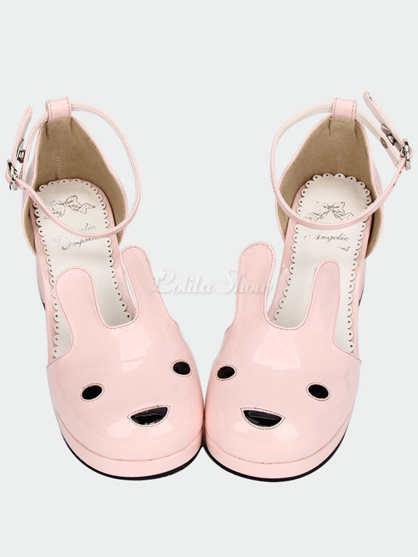 Lolitashow Cute Pink Lolita Chunky Pony Heels Sandals Ankle Straps ...