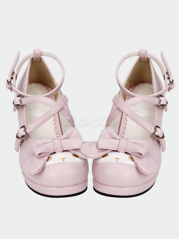 Lolitashow Sweet Lolita Shoes Pink Cross Bow High Heels Pumps Cute ...