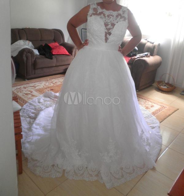 Vestido De Noiva Marfim Em Linha-A Com Decote V Nas Costas