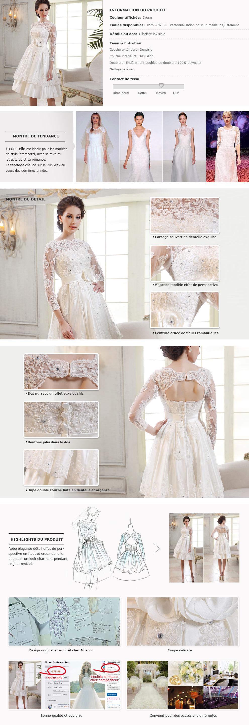 Robe de mari e courte en dentelle for Robe de mariage en trou de serrure lazaro