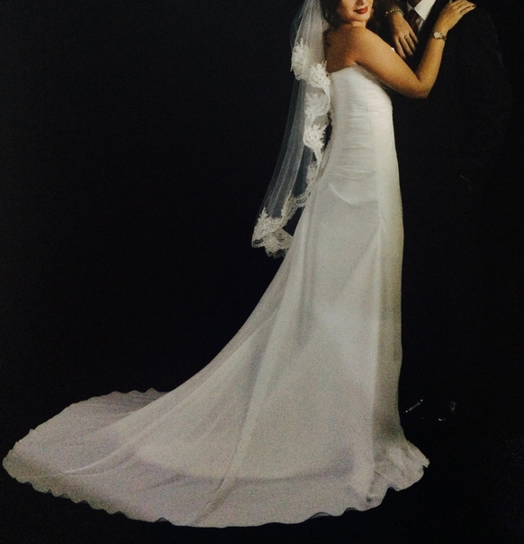 A Line Chapel Train Ivory Strapless Wedding Dress For Bride With Lovely Flower Milanoo