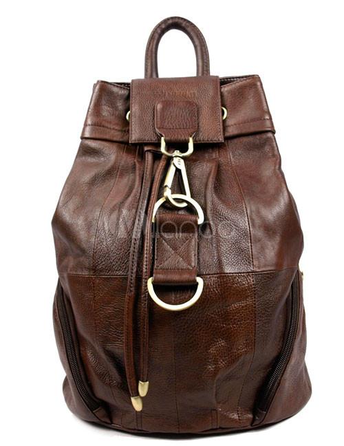 Коричневая кожа Два рюкзак сумка.