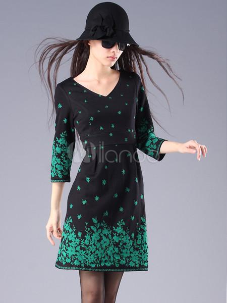 Точек украшение три четверти рукавами 93% Terylene 7% Spandex рынк платье.