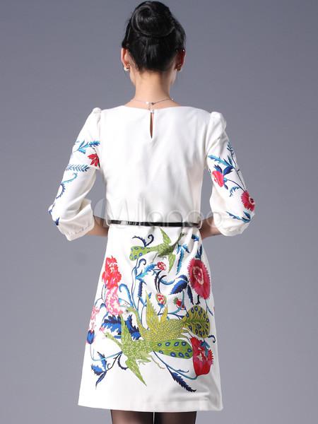 Цветочный белый круглый шею спицами хлопка женщинам платье.