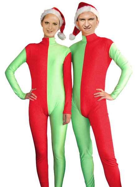 Milanoo coupon: Halloween Red and Green Christmas Couple Zentai Suits