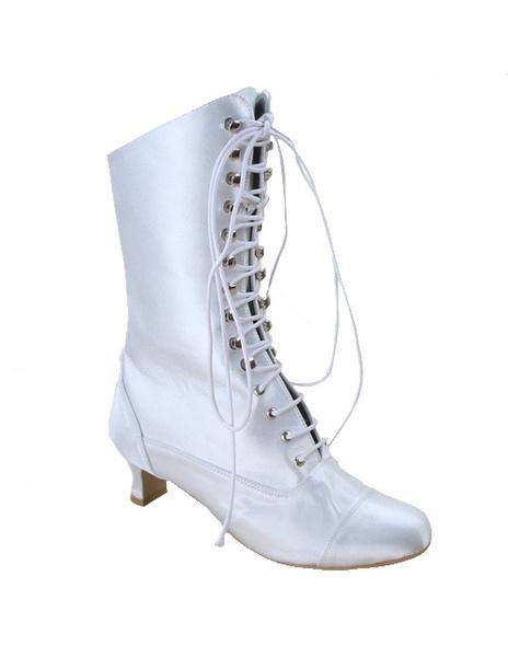 Milanoo coupon: White Satin Lace Tie Wedding Boots