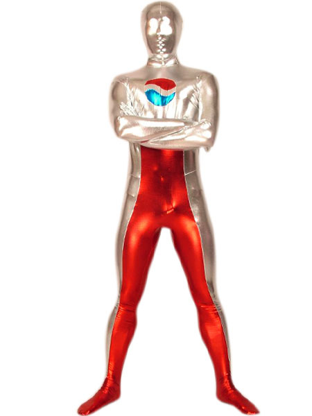 Milanoo coupon: Halloween Silver And Red Shiny Metallic Pepsi Zentai Suit Costume Cosplay