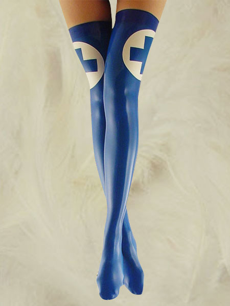 Milanoo coupon: Halloween Blue Latex Thigh High Sister Stockings