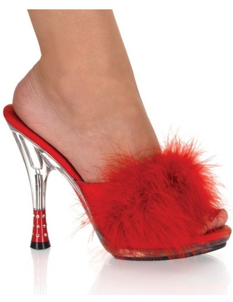 Milanoo coupon: 5\'\' High Heel Red Marabou Patent Leather Sexy Mules