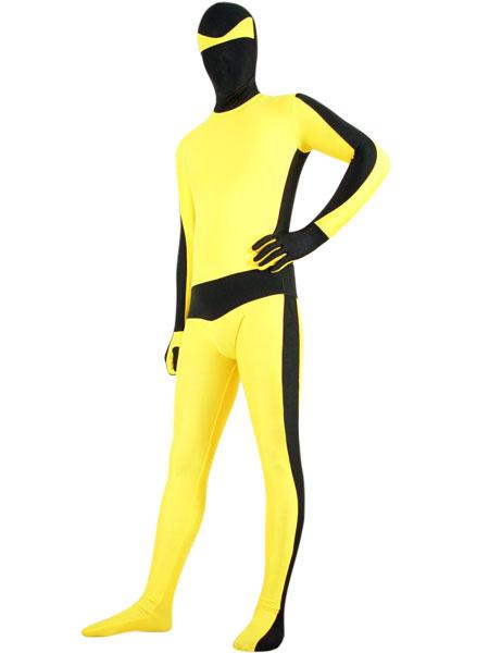 Milanoo coupon: Halloween Black And Yellow Lycra Spandex Bruce Lee Zentai Suit