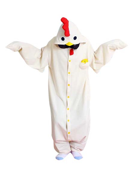 Milanoo coupon: Kigurumi Pajamas Chick Onesie Hen For Adult White Animal Costume