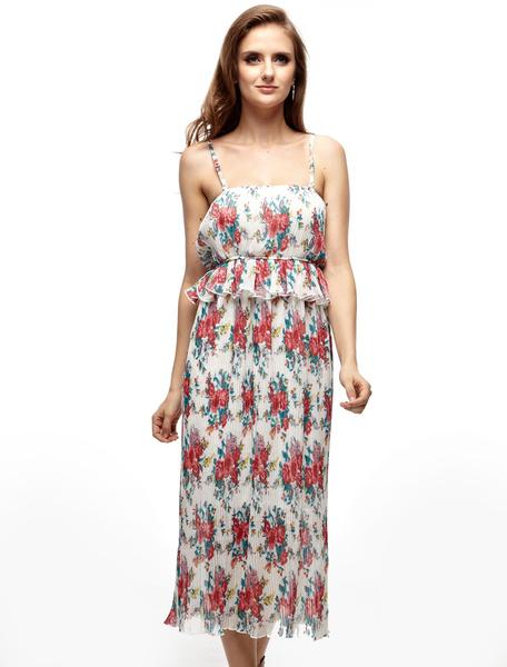 Milanoo coupon: Hottest White Chiffon Spaghetti Floral Womens Dress