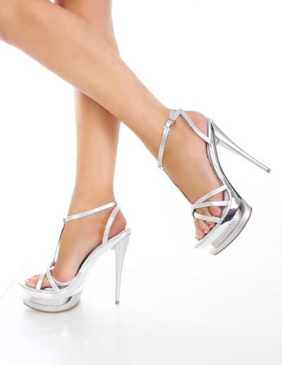 Milanoo coupon: Sexy Silvery PU Leather 5 7/10'' High Heel 1 1/2'' Platform Womens Sandals