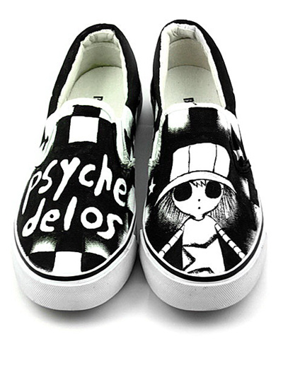 Cool Black Canvas TPR Sole Girl Scrawl Womens Painted Shoes