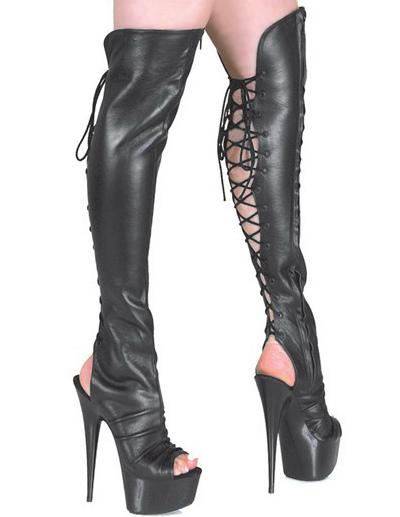 Black Open 5 7/10 High Heel 1 7/10 Platform Matte PU Lace-Up Womens Sexy Boots