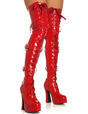 Red Lace-Up 5 High Heel 1 1/5 Platform Patent Leather Sexy Boots For Women