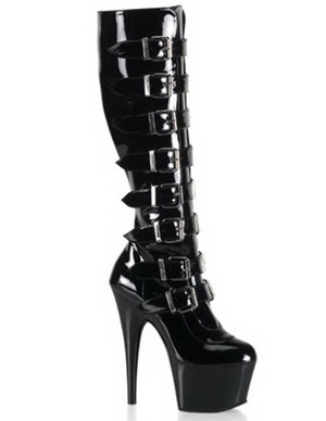 Black 5 7/10 High Heel 1 7/10 Platform Buckles Patent Leather Womens Sexy Boots