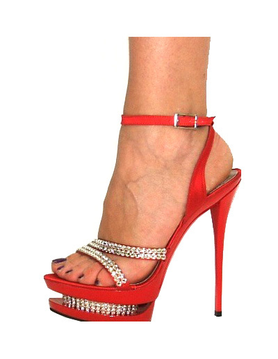 Elegant Red 5 1/2\'\' Heel 1 3/5\'\' Platform Patent Leather Womens Sexy Sandals