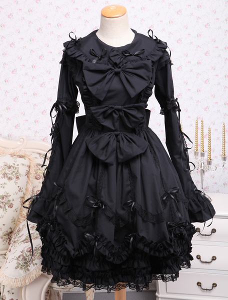Elegant Gothic Black Cotton Lolita OP Dress Long Sleeves Lace Trim Bows Ruffles