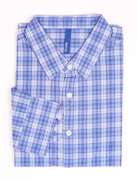 Milanoo coupon: Casual Blue Check 100% Cotton Mens Shirt