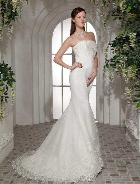 Milanoo coupon: Gorgeous Mermaid Trumpet Strapless Beading Satin Organza Wedding Dress